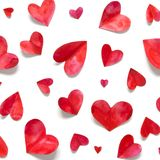 Valentine`s day romantic background. Watercolor hearts royalty free stock photos