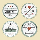 Valentine's day and romantic badges set stock illustration