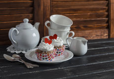 Valentine's day romantic Breakfast. Banana oat cupcakes and a tea set Royalty Free Stock Photography