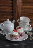 Valentine's day romantic Breakfast. Banana oat cupcakes and a tea set Stock Photo