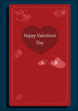 Valentine`s day romantic card with cut-out heart shape decoration. On red background Stock Photos