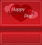 Valentine`s Day romantic card. With two sides to open,heart shapes and red background Royalty Free Stock Photography