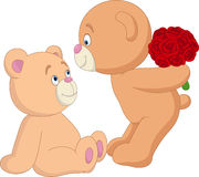 Valentine`s day with romantic couple of teddy bear Royalty Free Stock Photos