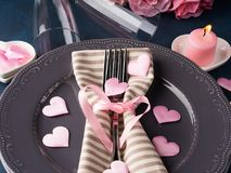 Valentine`s day romantic date concept with candles Royalty Free Stock Photo