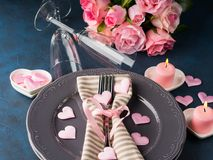 Valentine`s day romantic date concept with candles Stock Photo