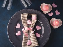 Valentine`s day romantic date concept with candles Stock Photos