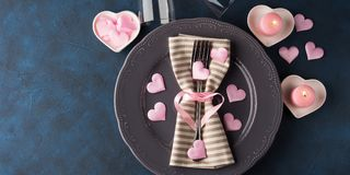 Valentine`s day romantic date concept with candles Royalty Free Stock Photography