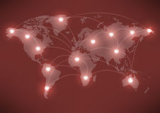 Valentine's Day romantic heart with world map Royalty Free Stock Images