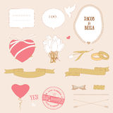 Valentine's Day Romantic Love Set, Vector Royalty Free Stock Photography