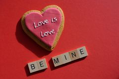 Valentine`s Day romantic message, Love is Love stock photos