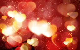 Valentine`s day, romantic red bokeh background with glowing hear stock illustration