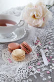 Valentine's Day: Romantic tea drinking with macaroons Stock Images