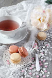 Valentine's Day: Romantic tea drinking with macaroons Stock Photography