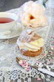 Valentine's Day: Romantic tea drinking with pastry chantilly cre Stock Photography