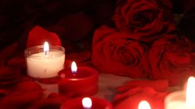 Valentine`s day roses pan with candles. Pan across Valentine`s day rose bouquet and petals in background with candles stock video