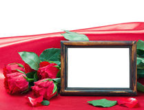 Valentine's day roses and photo frame with space for text Stock Image