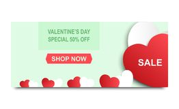 Valentine`s day sale background. Banner template holiday discoun. T. Valentine`s heart sale shopping. Vector illustration Royalty Free Stock Image
