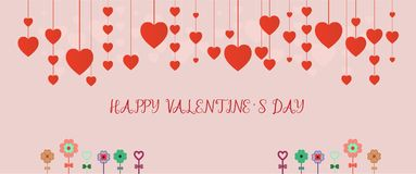 Valentine`s day sale background. Banner template holiday discoun. T. Valentine`s heart sale shopping. Vector illustration Stock Image