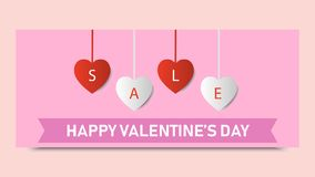 Valentine`s day sale background. Banner template holiday. Discount. Valentine`s heart sale shopping. Vector illustration Royalty Free Stock Photos