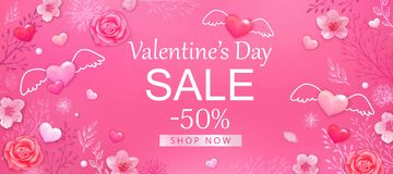 Valentine`s day sale background with pink hearts, roses, cherry blossoms. Design for flyer, card, invitation, banner. vector illustration