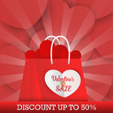 Valentine`s Day sale background with shopping bag Stock Image