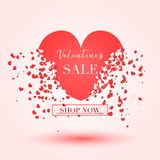 Valentine`s day Sale banner for advertising or social network post. Vector red heart`s pixel explosion Stock Photography