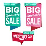 Valentine s Day Sale Banner Set Vector. February 14 Online. Valentine s Day Sale Banner Collection Vector. Online Shopping. Website Stickers, Love Web Page Stock Illustration