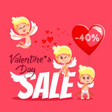 Valentine's day sale banner with cute cartoon cupids. Royalty Free Stock Photos