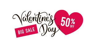 Valentine`s day sale banner design template with heart icons and hand lettering calligraphy text. Vector tag or label. EPS 10. Valentine`s day sale banner design Stock Photography