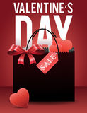 Valentine's day sale banner with gift bag and hearts Royalty Free Stock Images