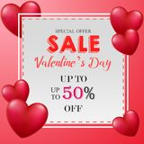 Valentine`s day sale banner stock illustration