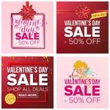 Valentine s Day Sale Banner Set Vector. Cartoon Business  Stock Photos