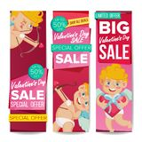 Valentine s Day Sale Banner Set Vector. February 14 Cupid. Online Shopping. Valentine Website Vertical Banners, Romantic. Valentine s Day Sale Banner Vector royalty free illustration