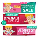 Valentine s Day Sale Banner Vector. February 14 Cupid. Discount Tag, Special Love Offer Horizontal Banners. Valentine Stock Images