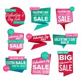 Valentine s Day Sale Banner Set Vector. February 14 Sale. Valentine s Day Sale Banner Set Vector. Sale Voucher Banner. Discount Tag, Special Valentine Offer Stock Illustration