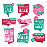 Valentine s Day Sale Banner Set Vector. Sale Voucher. Valentine s Day Sale Banner Set Vector. February 14 Online Shopping. Discount Banners. Valentine Sale Stock Photography