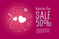 Valentine`s Day Sale banner template design. 50 percent discount.  Vector illustration Royalty Free Stock Photos