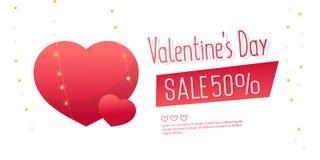 Valentine`s Day Sale banner template design. 50 percent discount.  Vector illustration Stock Image