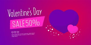 Valentine`s Day Sale banner template design. 50 percent discount.  Vector illustration Stock Photo