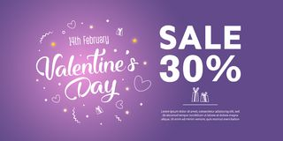 Valentine`s Day Sale banner template design. 30 percent discount.  Vector illustration Royalty Free Stock Photo