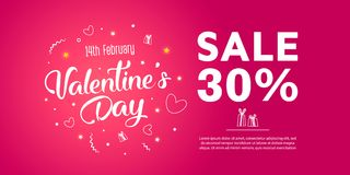 Valentine`s Day Sale banner template design. 30 percent discount.  Vector illustration Stock Photos