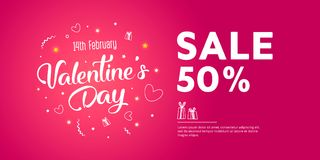 Valentine`s Day Sale banner template design. 50 percent discount.  Vector illustration Royalty Free Stock Photo