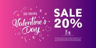 Valentine`s Day Sale banner template design. 20 percent discount.  Vector illustration Stock Photo