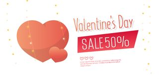 Valentine`s Day Sale banner template design. 50 percent discount.  Vector illustration Royalty Free Stock Images