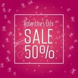 Valentine`s Day Sale banner template design. 50 percent discount.  Vector illustration Royalty Free Stock Image