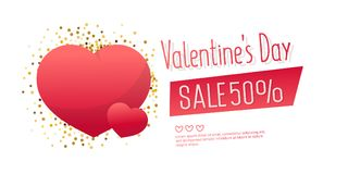 Valentine`s Day Sale banner template design. 50 percent discount.  Vector illustration Stock Images