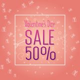 Valentine`s Day Sale banner template design. 50 percent discount.  Vector illustration Royalty Free Stock Photography