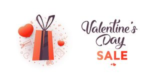 Valentine`s Day Sale banner template design. 50 percent discount.  Vector illustration Stock Photos