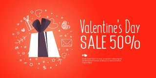 Valentine`s Day Sale banner template design. Vector illustration. Valentine`s Day Sale banner template design. 50 percent discount.  Vector illustration Royalty Free Stock Photography