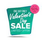 Valentine s Day Sale Banner Vector. February 14 Sale Background. Half Price Love Sticker. Tag And Label Design. Isolated Royalty Free Stock Photos